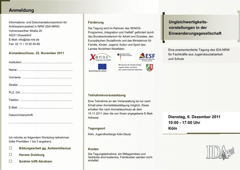 """Einladung zur Tagung: """"Ungleichwertigkeitsvorstellungen…""""  der IDA-NRW, Köln 6.12.2011"""
