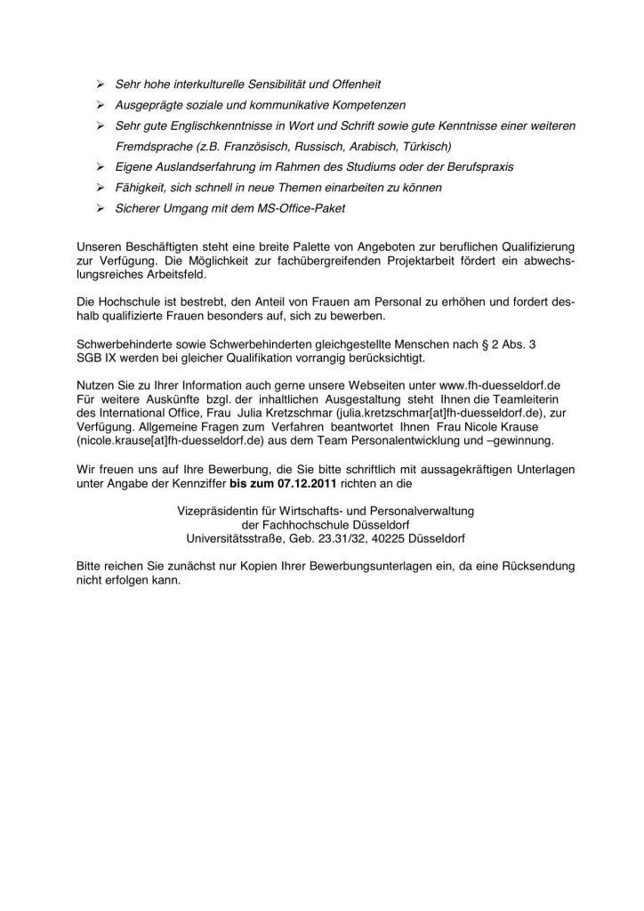stellenausschreibung fh dsseldorf - Fh Dusseldorf Bewerbung