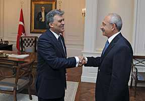 photo  Turkey's President Abdullah Gul (left) met with main opposition Republican People's Party (CHP) leader Kemal Kilicdaroglu at the Presidential Palace in Ankara on Thursday (June 30th). [Reuters]