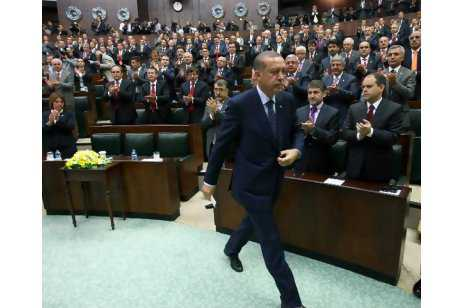 Turkish prime minister Recep Tayyip Erdogan yesterday after he addressed members of his ruling Justice and Development Party at the parliament in Ankara. ADEM ALTAN / AFP PHOTO