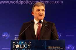Turkey's President Abdullah Gül makes a speech at the opening of the World Policy Conference at the historic Hofburg palace in Vienna December 9, 2011.