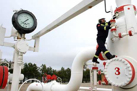 A worker checks the valve gears in a natural gas control centre of Turkey's Petroleum and Pipeline Corporation