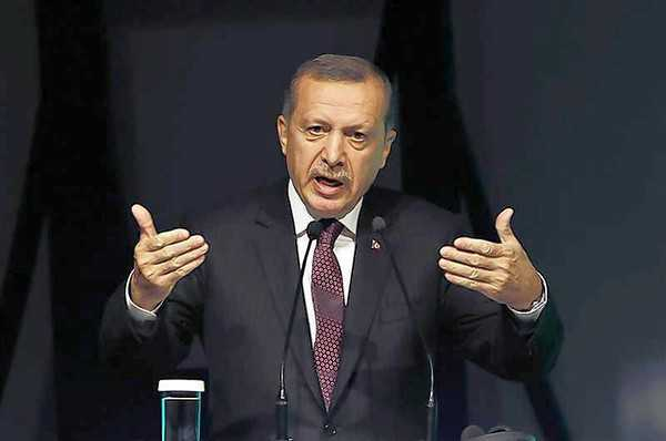 Turkey's PM Tayyip Erdogan makes a speech during the Global Alcohol Policy Symposium in Istanbul