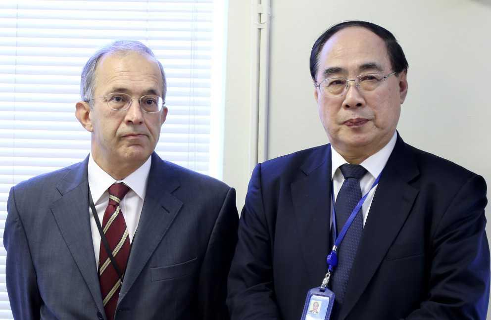 On the left,  Ambassador Y. Halit Çevik, Permanent Representative of Turkey to the United Nations