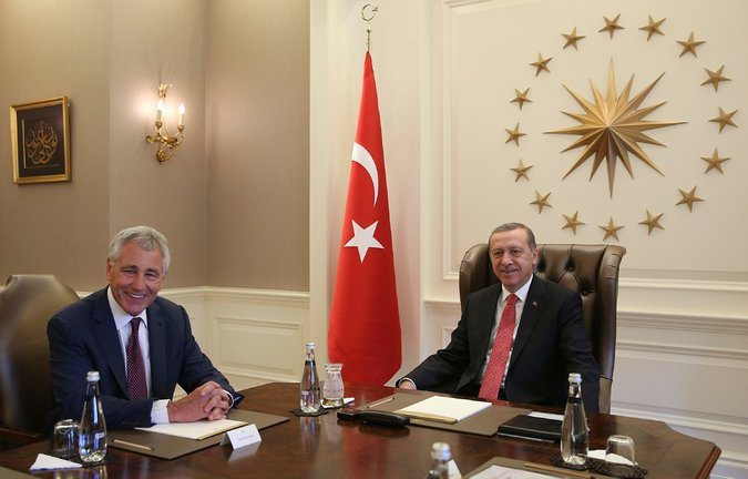 Defense Secretary Chuck Hagel, left, met Monday with Recep Tayyip Erdogan, the president of Turkey, to gauge Turkey's willingness to participate in an American-led coalition against the militant group ISIS, the Islamic State in Iraq and Syria. Credit Reuters