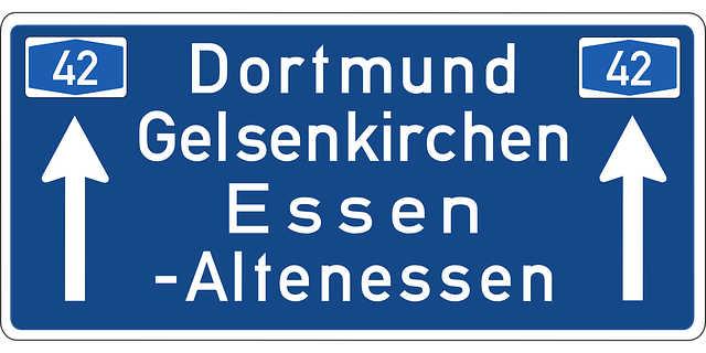Almanya otoban tabelası Dortmund, Essen, Ruhr Bölgesi