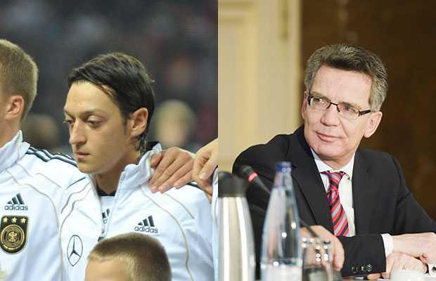 Almanya İçişleri Bakanı Thomas de Maiziere, Real Madrid'de oynayan Alman Milli Takımının Türk kökenli oyuncusu Mesut Özil'in Almanya'yı benimsemiş olmasını çok olumlu bulduğunu söyledi