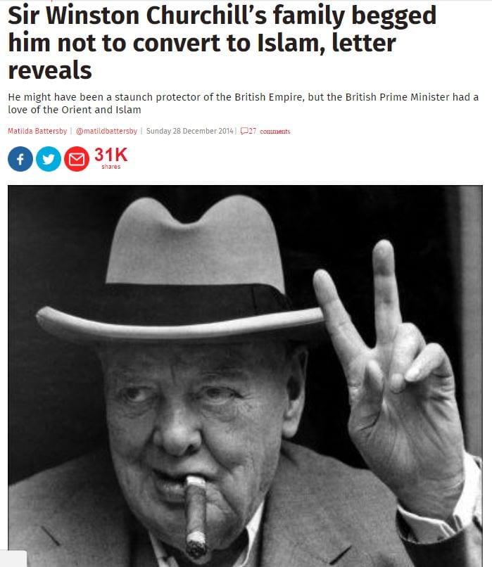 Churchill'in ailesi islam'a geçmemesi için kendisine mektup yazmış