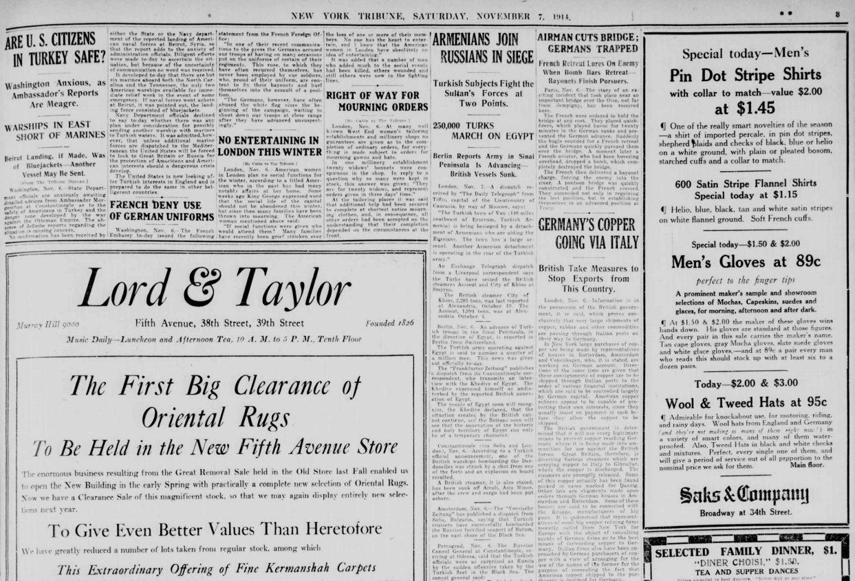 7 Kasım 1914 Cumartesi tarihli New York Tribune gazetesi. Ermeniler kuşatmada Ruslar'a katılıyorlar.