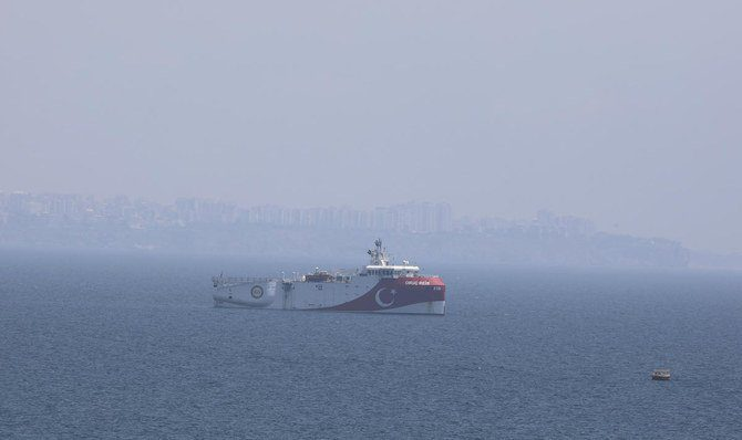"In this photo taken Monday, July 27, 2020, Turkey's research vessel, Oruc Reis, anchored off the coast of Antalya on the Mediterranean, Turkey. A top Turkish official said Tuesday that Turkey will suspend research for oil and gas exploration in disputed waters in the Eastern Mediterranean. President Recep Tayyip Erdogan told his aides to ""be constructive and put this on hold for some time,"" presidential spokesman Ibrahim Kalin told Turkish broadcaster CNN Turk."